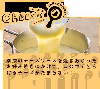 別添のチーズソースを焼きあがったお好み焼きにかけて。口の中でとろけるチーズがたまらない!