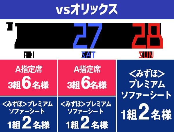 福岡ソフトバンクホークスvsオリックス 7/26~27、A指定席各日3組6名 プレミアムソファーシート各日1組2名、28日のみプレミアムソファーシート1組2名